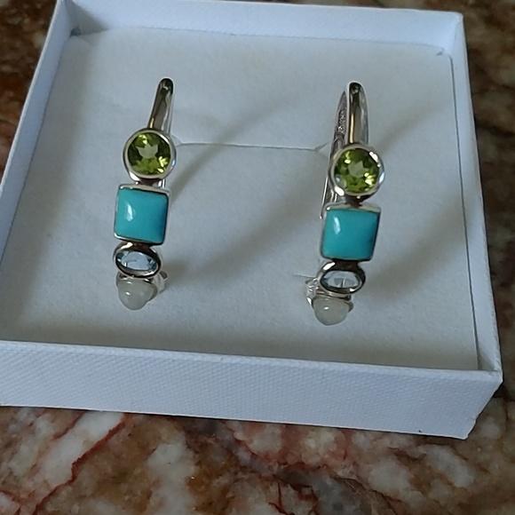 8642982f5c5ce Multi-Gemstone Sterling Silver Round Hoop Earrings
